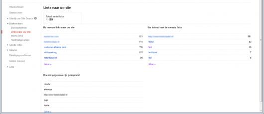 Google Search Console: backlinks en interne links
