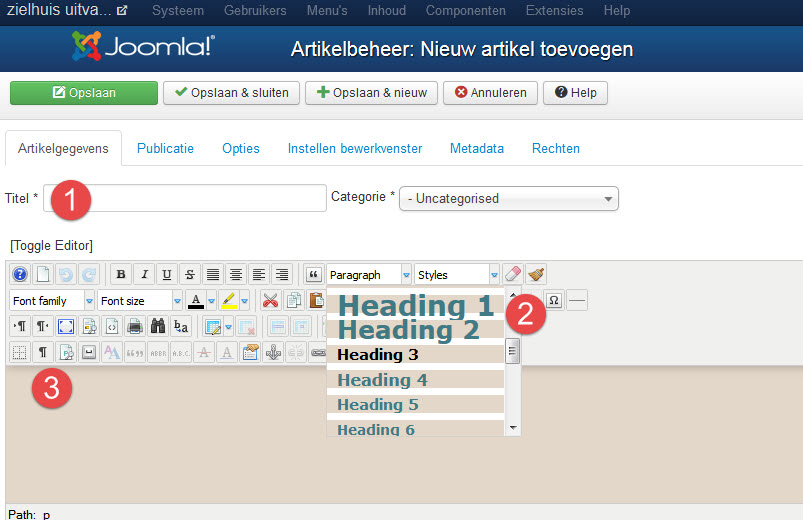 Headings Joomla