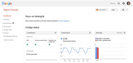Google Search Console: dashboard, instellingen, site berichten