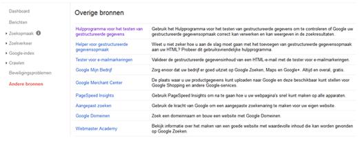 Google Search Console: overige bronnen