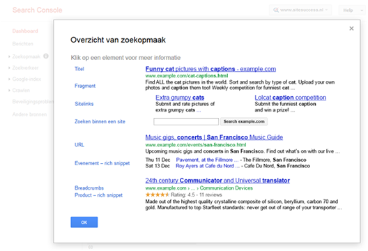 Google Search Console: uiterlijk van Site Search